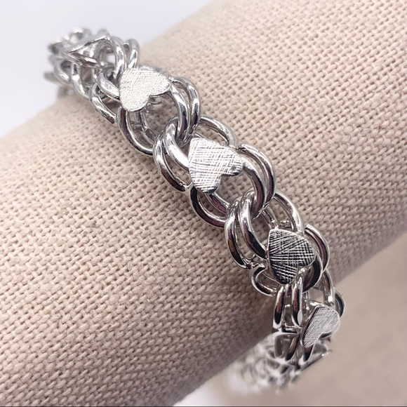 Monet Silver Heart Link Charm Bracelet